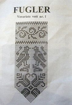 bird chart for Norwegian mittens Norwegian Knitting, Love Knitting, Fair Isle Knitting, Knitting Socks, Filet Crochet Charts, Knitting Charts, Knitting Patterns, Knitted Mittens Pattern, Crochet Mittens