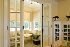 Built-in Bookcases, French Doors, Cottage Style