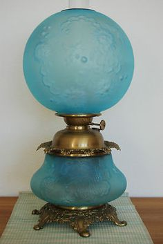 GWTW Oil Kerosene Antique Old Vintage American Glass Art Nouveau Victorian Lamp | eBay
