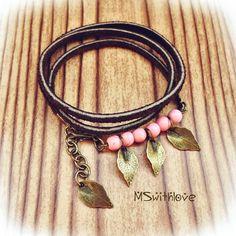 Leaf wrap bracelet, Leather wrap bracelet, Bohemian pink wrap bracelet, Leather…