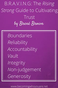 In Rising Strong, Brené Brown shares 7 elements that influence our levels of trust in our relationships and self-trust with ourselves
