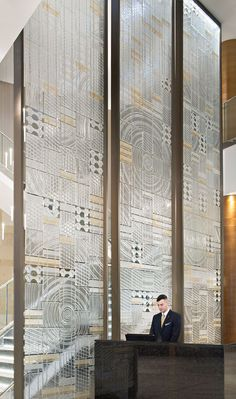 I love the pattern wall for huge dividers! Reminds me of frank Lloyd wrights design