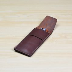 Leather Pen Case Pencil Case Leather Pen Pouch by ZETAleathergoods