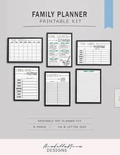 Wall Family Planner | Printable | Family organizer, monthly calendar, weekly planning, meal planner,