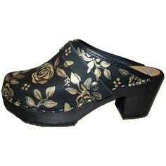 Black Oil Rose High Heel, your choice of snap-strap, Tessa Clog