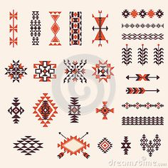 Discover thousands of images about Illustration of Native american navajo aztec pattern vector elemets design set vector art, clipart and stock vectors. Native American Patterns, Native American Symbols, Native American Design, Native Design, Indian Patterns, Tribal Patterns, American Indians, Beading Patterns, Native American Drawing