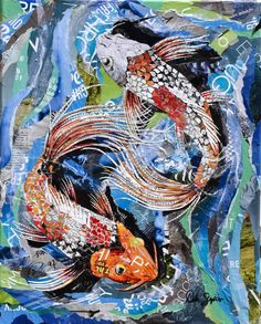 Orange and white koi fish collage on a blue background made from torn and cut magazine paper. Original collage for sale at Hazel Tree Interiors in Akron. Contact artist for giclee prints. Fish Collage, Paper Collage Art, Collage Artwork, Paper Artwork, Collage Ideas, Art Ideas, Koi Art, Fish Art, Paper Mosaic