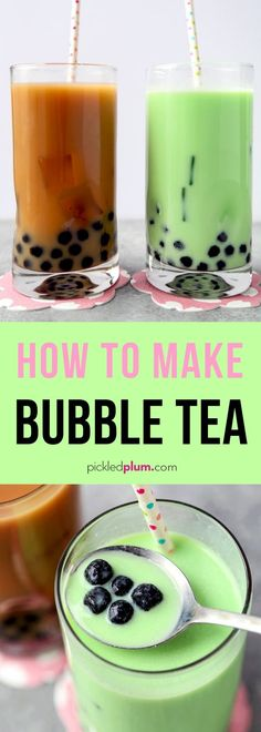How To Make Bubble Tea in 10 minutes - Learn How To Make Bubble Tea at home (it's so EASY!) for a fraction of the cost of the boba milk tea shop! You'll be a bubble tea barista in no time! Cocktails, Non Alcoholic Drinks, Beverages, Bubble Tea, How To Make Boba, Milk Tea Recipes, How To Make Bubbles, Homemade Bubbles, Thai Tea