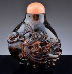 Rare 18/19thc chinese natural cherry amber orange coral dragon snuff bottle