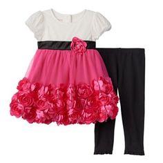Baby Girl Nannette Rosette Tulle Dress & Leggings Set