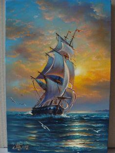 Ship Paintings, Seascape Paintings, Landscape Paintings, Beautiful Paintings Of Nature, Nature Paintings, Watercolor Scenery, Disney Canvas Art, Flower Art Drawing, Boat Art
