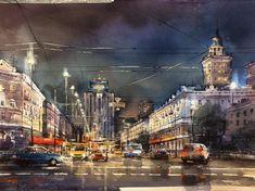 Times Square, Roman, Watercolor, Artwork, Passion, Watercolors, Abstract, Art Work, Watercolour