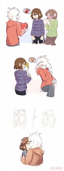 Undertale Fan Art Asriel X Frisk