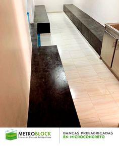 "Bancas prefabricadas en #BloquesDeCemento, con recubrimiento superficial decorativo con Micro-Cemento de #color negro. ""Proyecto #empresa Farmacapsula"". #metroblock #design #decoration #home #fashion #news #arquitectura"