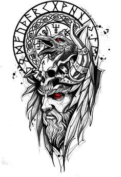 Nautical Tattoo Sleeve, Full Sleeve Tattoo Design, Tattoo Design Drawings, Tattoo Sketches, Tattoo Designs Men, Vikings, Arte Viking, Viking Art, Viking Tattoos For Men