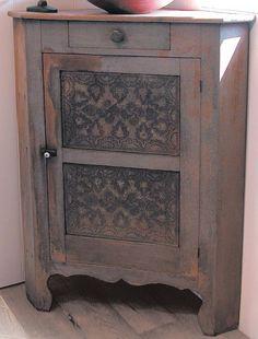 "Dimensions: H 54"", W 40"", corner depth 28 ½""  Date / Circa: c.1850  Maker / Origin: Indiana  Medium: oak, pine and tin with original gray paint"