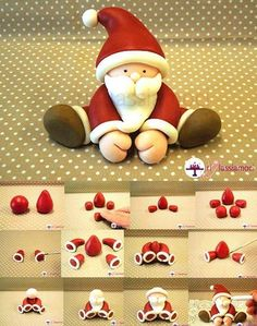 Fondant Santa tutorial - For all your Christmas cake decorat.- Fondant Santa tutorial – For all your Christmas cake decorations, please visit w… Fondant Santa tutorial – For all your Christmas cake decorations, please visit www. Christmas Cake Decorations, Fondant Decorations, Holiday Cakes, Fondant Christmas Cake, Xmas Cakes, Christmas Cake Topper, 3d Cakes, Polymer Clay Christmas, Polymer Clay Crafts