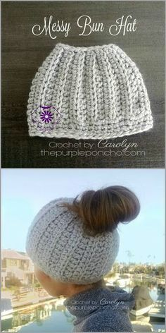 """The Messy Bun Hat is a cute hat that has a whole in the top to pull your hair through to make a """"messy bun"""" or a ponytail. I think it is so clever! Made with chunky weight yarn, this works up super…"""