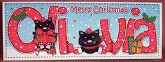 Card Gallery - Large DL Xmas OLIVIA Cute Little Cat 3D decoupage