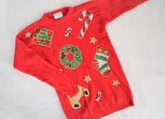 Vintage Red Christmas Sweater with Sequins and Beads / Oversize Holiday Sweater Christmas Candy Cane Wreath / Marisa Christina Red Jumper Holiday Sweaters, Red Jumper, Candy Cane Wreath, Christmas Candy, Sequins, Beads, Mens Tops, Clothes, Vintage