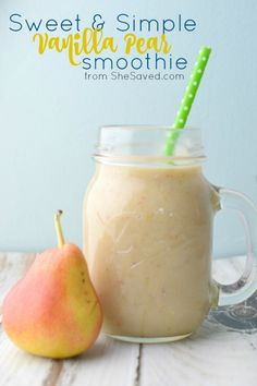 and Simple Vanilla Pear Smoothie Recipe This Pear Smoothie Recipe is sweet and simple and will be a delicious and healthy breakfast drink!This Pear Smoothie Recipe is sweet and simple and will be a delicious and healthy breakfast drink! Smoothies Banane, Smoothie Fruit, Smoothie Detox, Raspberry Smoothie, Apple Smoothies, Healthy Smoothies, Protein Fruit, Simple Smoothie Recipes, Toddler Smoothies