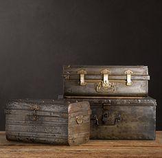 End Tables 1950s Iron Traveler's Trunks