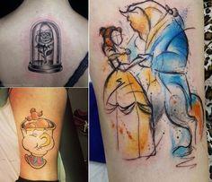 Tatuagem inspirada em filmes da Disney, tatuagem inspirada no filme A Bela e a Fera