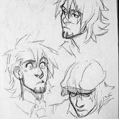 Kotetsu sketch faces #art #ink #tiger&bunny