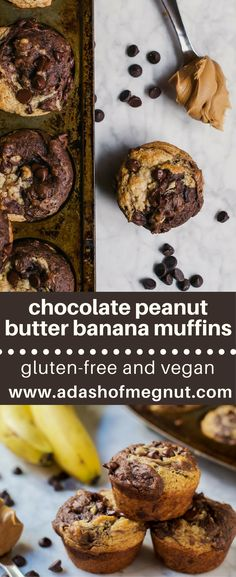 Chocolate peanut butter swirl banana muffins are a delicious gluten-free, dairy-free and vegan muffin that are easy to make with ingredients you already have in your pantry. Take a bite out of a warm muffin straight from the oven and you'll be swooning with delight. Freeze some for later for easy weekday breakfasts or as a grab-and-go snack throughout the week. No egg replacers needed here, just bananas! #glutenfree #dairyfree #vegan #muffin #muffintin via @adashofmegnut