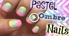 Pastel Rainbow Ombre Nail Art Tutorial For Short Nails - Red Unicorn Pastel Nail Art, Nail Art Diy, Simple Nail Art Designs, Best Nail Art Designs, Nail Art Design 2017, Unicorn Nail Art, Rainbow Nail Art, Nail Art For Beginners, Nails For Kids