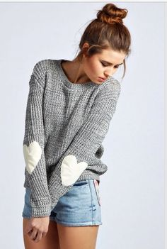 I love the heart elbow pads on this sweater, perfect for fall.