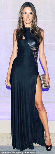 4e207ad3004 Alessandra Ambrosio in leather and lace dress Alessandra Ambrosio Style