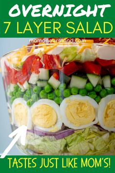 Overnight 7 Layer Salad recipe layers an ultra creamy dressing with lettuce, peas, cheese, eggs, and bacon. Seven Layer Overnight salad can be made ahead, refrigerated , and then be ready to serve for a crowd or party! Best Salad Recipes, Salad Dressing Recipes, Soup Recipes, Fall Dinner Recipes, Healthy Dinner Recipes, Healthy Food, Seven Layer Salad, Around The World Food, Side Salad