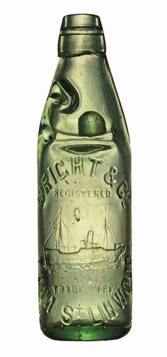 Codd bottle from New Zealand WRIGHT  &  Co.  TUAM  St.  LINWOOD  « Finest English Made Codd's Bottle »  Made by Johnsen & Jorgensen London  On the bottom : 5495  Size : 22,5cm