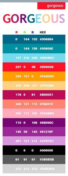 Gorgeous color schemes, color combinations, color palettes for print (CMYK) and Web (RGB + HTML) Colour Pallete, Colour Schemes, Color Combinations, Color Palettes, Cores Rgb, Rgb Color Codes, Web Design, Graphic Design, Web Colors