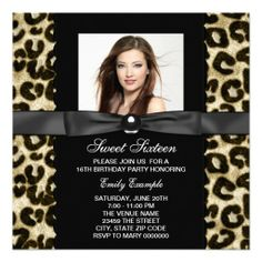 Leopard Photo Sweet 16 Birthday Party Invitations We provide you all shopping site and all informations in our go to store link. You will see low prices onDeals          	Leopard Photo Sweet 16 Birthday Party Invitations Here a great deal...