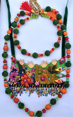 Bohemian mixed media collage statement necklace 2 by Diomios