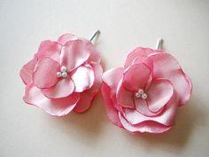 Coral Pink  Salmon Tea Rose Satin Hair flower pins by priya123, $18.00