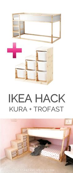 Ikea Hack for a toddler bunk bed KURA plus TROFAST super cool idea! Save that for my kids Roo The post Ikea Hack for a toddler bunk bed KURA plus TROFAST super cool idea! Save tha appeared first on kinderzimmer.
