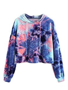 Crop Velvet Hoodie with Batik Pattern - German SheIn (Sheinside) - Fashion: Pullover - Shoes Crop Top Hoodie, Cropped Hoodie, Sweater Hoodie, Blue Hoodie, Teen Fashion Outfits, Trendy Outfits, Girl Outfits, Women's Fashion, Tie Dye Fashion
