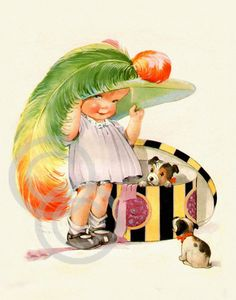 Charles Twelvetree's, Playing Dressup, Hatbox, Hat, Feathers, Puppy Dog,  1920's