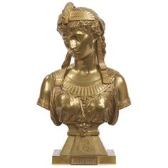 """EGYPTIAN REVIVAL GILT BRONZE SCULPTURE, """"CLEOPATRA"""" BY EUTROPE BOURET (FRENCH, 1833-1906)<BR>Signed """"Bouret, Sculp"""" along base, c. 1890<BR>Item # 504PXK12A <BR><BR>This precisely modeled and incredibly attractive work by Eutrope Bouret was likely cast during the last ten years of the nineteenth century, the quality and detail of the sculpture without question excellent. The bust depicts Cleopatra with a spread eagle crown and broad ribbons draping from her hair over a richly formed garment…"""