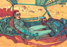 A selection of the beautiful futuristic illustrations by Josan Gonzalez, a Spanish artist who leads us into a colorful world where intermingle decadence an. Sci Fi Kunst, Cyberpunk Kunst, Comic Kunst, Cyberpunk 2077, Comic Art, Art And Illustration, Illustrations, Arte Sci Fi, Sci Fi Art