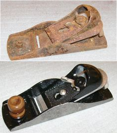 Millers Falls No.75 Block Plane, circa 1950s.  Copy of Stanley No.220. Rescued from a chest of my father's tools and rebuilt.  I turned a new knob, but ended up making it more like a Stanley one than a Millers Falls one by fitting a hidden stud inside of it instead of drilling for a through screw.