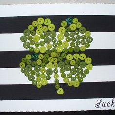 Button Luck Shamrock- what a cool St. Patrick's Day decoration for kids to make!