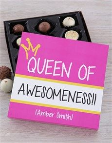 gifts: Personalised Queen Of Awesomeness Choc Tray! Good Birthday Presents, Chocolate Gifts, Floral Arrangements, Tray, Queen, Pink, Costumes, Flower Arrangement, Flower Arrangements