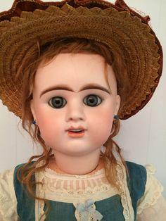"Antique Etienne Denamur French Bisque Head and Composition Doll 29"""