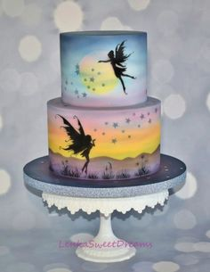 Fairy Fantasy Silhouette cake, painted with airbrush . Pretty Cakes, Cute Cakes, Beautiful Cakes, Amazing Cakes, Fairy Birthday Cake, Birthday Cakes, Airbrush Cake, Silhouette Cake, Fairy Silhouette