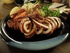 Ika Garlic Bata-Yaki (Whole Squid sauteed with butter and garlic) - at Maneki