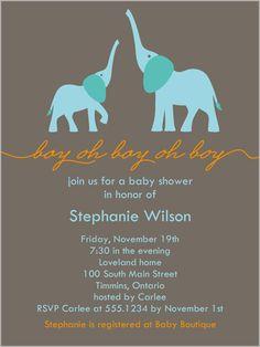 Elefun Baby Boy 4x5 Greeting Card | Baby Shower Invitations